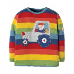 Top - Frugi - AW18 - Button Applique Top - Rainbow Stripe Tractor -  6-12m