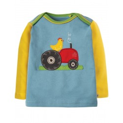 Top - Frugi - AW18 -  Piper - River Blue/Tractor  6-12, 12-18, 18-24m and 2-3, 3-4y