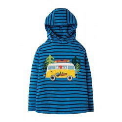 Top - Frugi - Campfire Hooded Top -Sail Blue Breton Campervan 2-3, , 6-7, 7-8, 8-9, 9-10y - sale