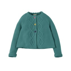 Cardi - Frugi - AW18 - Carrie Cable Cardigan - River Blue -  2-3, 4-5, 5-6, 6-7, 7-8, 8-9, 9-10y