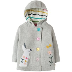 Jacket - Frugi - AW18 - Cosy Buton Up Jacket  - Grey marl Bunny - 3-4y