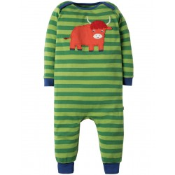 Romper - Frugi -  AW18 - Charlie Romper- Meadow Stripe Highland Cow  -, 6-12m