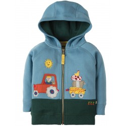 Hoody - Frugi - AW18 - Farmyard Hoody, River Blue Tractor -  12-18, 18-24m and 2-3y - sale