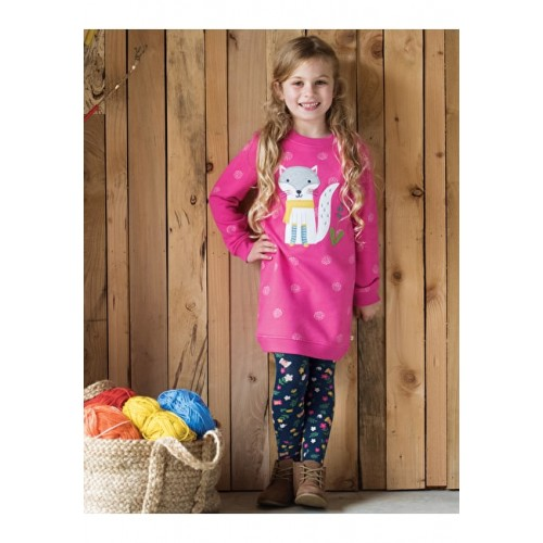Dress - Frugi - Aw18 - Eloise Jumper - Flamingo pink fox - 2-3, - last one in  sale