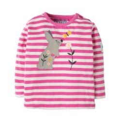 Top - Frugi - AW18 - Button Applique Top -Flamingo stripe bunny - 3-6, 6-12, 12-18, 18-24m and 2-3y