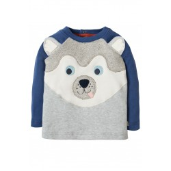 Top - Frugi - AW18 - drop 4 - Happy Raglan Top - Grey Marl Husky Dog -  0-3, 3-6, 18-24m and 2-3, 3-4