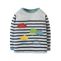Top - Frugi - AW18 - Playtime Panel - Grey Marl Stripe and rainclouds - 0-3, 3-6, 18-24m