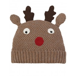 Hat - Frugi - Christmas - Friendly Face Knitted Hat -  Walrus Brown Reindeer - 0-12m and 1-2y, 6-10y - sale
