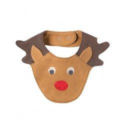 Bib - Frugi - Christmas - Cheeky Chops - Walrus Brown Reindeer - last one in - CLEARANCE 45% off - No return