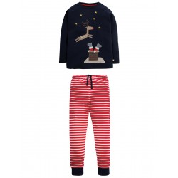 Pj - Frugi - AW18 - drop 5 - Jamie Jim Jams - Navy Reindeer Christmas - 2-3,  ,4-5,, 6-7,  7-8, 8-9, 9-10 - limited stock