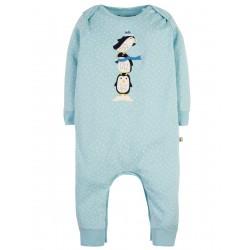 Romper - Frugi - Charlie Romper - Christmas - Sky Blue Scatter Spot Penguin -   0-3, 3-6 , 6-2, 12-18, 18-24m-  sale