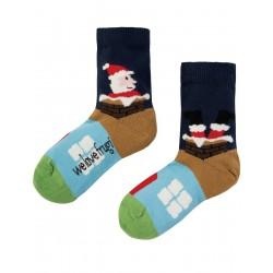 Socks - Frugi - AW18 - drop 5 - Perfect Socks - Navy Santa  -  shoe size  6-8, 9-12,13-2,  limited stock