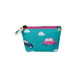 Bag - Frugi - AW19  - BACK TO SCHOOL- Penny Coin Purse- Aqua Rainbow Roads