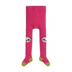 Tights - Frugi -  Little Fun Knee Tights - Flamingo Pink spot Panda- 6-12m  -  last item 45% off clearace sale