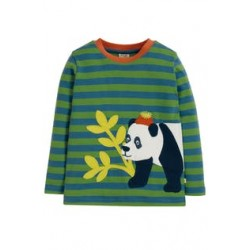 Top - Frugi - AW19 - drop 2 - Discovery - Meadow Green  - Stripe panda -  2-3, 3-4, 4-5, 5-6, 6-7, 7-8y - new