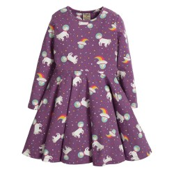Dress - Frugi - Sofia Skater Dress - Amethyst Unicorn - exclusive to independent shops - 12-18, 8-24m Sale