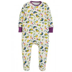 Babygrow - Frugi - AW19 - drop 2 - Zipped - White Tweet Birds -  0-3, 3-6, 6-12, 12-18m - new