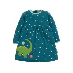 Dress - Frugi - AW19 - drop 2 - Dolcie - Steely Blue Star - Dino -  3-6,  6-12, 18-24m and 3-4y - new