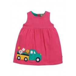 Dress - Frugi - AW19 - drop 2 - Lily - Flamingo Pink Flower Truck Car - Cord   - 0-3, 3-6,  6-12, 18-24m - new