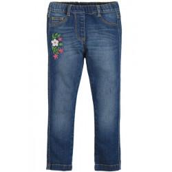 Trousers - Frugi -  Julie Jeggings Leggings - Mid Was denim (floral)  - sale