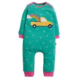 Babygrow - Frugi - Charlie Romper - Topaz Blue Polka Romper -  car truck - last item 45% off clearance  sale