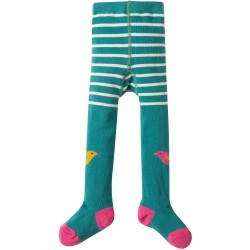 Tights - Frugi - Fun Knee Tights - River blue birdy knees  - 0-6m -  last item 45% off clearance sale