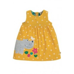 Dress - Frugi - AW19 - drop 3 - Lily Cord - Bumble bee yellow spot - Hippo -  12-18, 18-24m and 2-3 , 3-4y - new