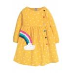 Dress - Frugi - AW19 - Bonnie Button Dress - Yellow Bumble Bee spot  -  5-6, 6-7, 7-8y - sale