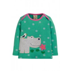 Top - Frugi - AW19 - drop 3 - Bobby - Topaz Blue Polka - Hippo - 0-3, 3-6, 6-12, 12-18, 18-24m and 2-3, 3-4 y -new
