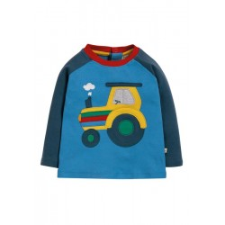 Top - Frugi - AW19 - drop 3 - Henry raglan - Sail Blue Tractor - 0-3, 3-6, 6-12, 12-18, 18-24m and 2-3, 3-4 y -new
