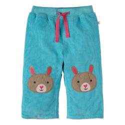 Trousers - Frugi - Cord Patch  - Aqua Bunny  - 12-18m last one in -  (come up large) CLEARANCE 45% off - No return