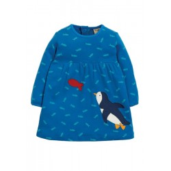 Dress - Frugi - AW19 - drop 4 - Dolcie -Swimming Shoals Penguin -  0-3, 3-6,  6-12, 18-24m and 2-3, 3-4y - new