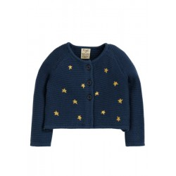 Cardigan - Frugi - AW19 - drop 4 - Emilia -  Space Blue - Stars  12--18,18-24, 2-3, 3-4y and 4-5, 5-6, 6-7, 7-8, 8-9 - sale offer