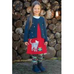 Dress - Frugi - Cord Christmas Festive Dress - Amber Red Cat  -  3-4, 6-7, 7-8, 8-9, 9-10 y - sale offer