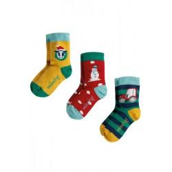 Socks - Frugi - AW19 - drop 4 -  Rock My Sock -  Christmas Festive Friends Multipack - UK 9-12 , UK 13-2, UK 3-5, - sale