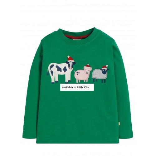 Top - Frugi - AW19 - drop 4 -  Adventure - Festive Jade Sheep - Christmas  - 4-5, 5-6, 6-7, 7-8, 9-10 new