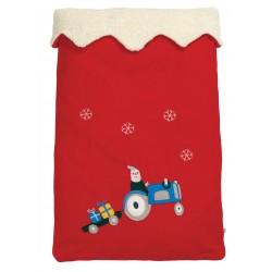 Santa Sack - Frugi - Christmas  Festive season - Red Santa on tractor  - sale offer