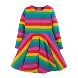Dress - Frugi - Skater Dress - Foxglove  Pink Rainbow Stripe - Long Sleeved - 18-24m and  2-3 , 9-10 - last 4 left in sale