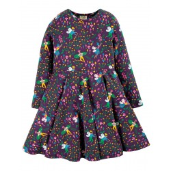 Dress - Frugi - Skater - Purple Fairy Friends - Long Sleeved - 6-12m and 18-24m - last  2  in clearance sale