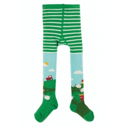 Tights - Frugi - Norah  Little Tights - Tractor  Scene - sale