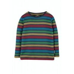 Top - Frugi - Favourite - Long Sleeve - Tobermory Indigo  Blue and Rainbow Stripe  -    sale