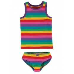 SET - Frugi - Vest and  Brief  - 2 pack - Foxglove Rainbow Stripe