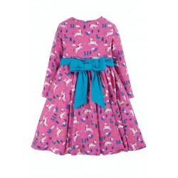 Dress - Frugi - Skater Dress -  Party Pink Unicorns with Bow - Long Sleeved - 6-12, 12-18 , 18-24m - last 4 in  sale