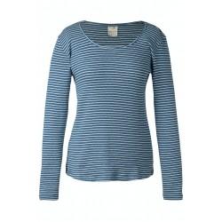 ADULT - Frugi - Petal Pointelle Top -  Steely Blue Stripe - sale