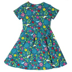 Dress - Frugi - Skater - Short Sleeved - Garden Friends - independent shop indies exclusive -  0-3, 3-6, 6-12 and 12-18m in clearance sale