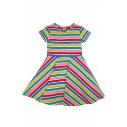Dress - Frugi - Skater - Soft White Multi rainbow stripe - Short Sleeved - AW21 - NEW