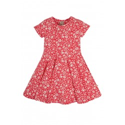 Dress - Frugi - Skater - Short Sleeved - Watermelon Pink Flower Bloom Birds - 18-24m and  2-3 , 3-4, 4-5, 5-6, 6-7, 7-8, 8-9, 9-10 - limited stock left - sale