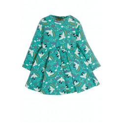 Dress - Frugi - Diddy - Baby Body Dress - Aqua Ptarmigan Bird - sale
