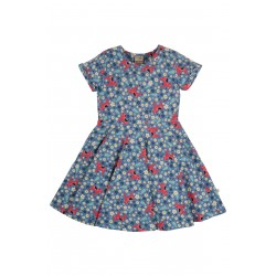 Dress - Frugi - Skater - Short Sleeved - Abisco Blue Dala Horse Ditsy - 2-3 , 3-4, 4-5, 5-6, 6-7, 7-8, 8-9, 9-10 - limited stock left - sale