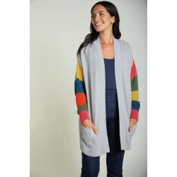 Adult - Frugi - Carrie - Cardigan  - Grey and Rainbow - ladies UK 8, 10, 14, 16 , 18  - 7 left in sale